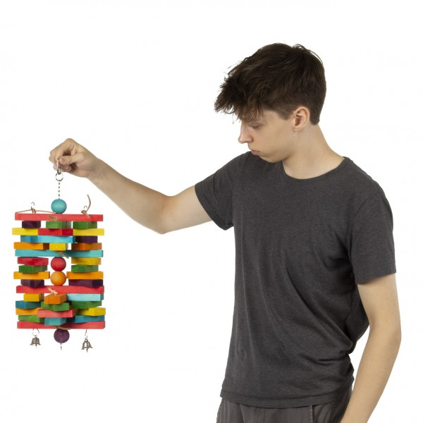 Holzspielzeug für Papageien   Woodpile XL   Holzspielzeug zum knabbern und Spielen mit Glöckchen ca. 21 x 44 cm