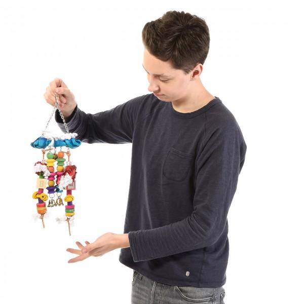 """Papageienspielzeug """"Double Shoe XL"""" mit Büffelhautknochen Glocke und viel Holz"""