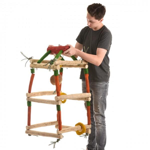 Papageienspielzeug GYM-Tower XL - als Hängefreisitz für Papageienaus hartem Kaffeeholz