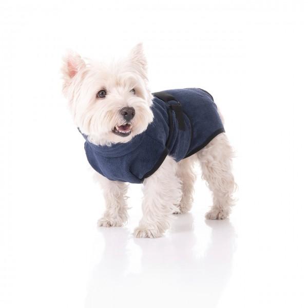 Hundebademantel | Rückenlänge ca.36 cm | Trockenmantel | Blau
