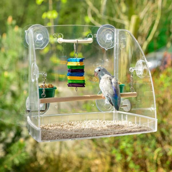 Freisitz für Vögel, Sittiche, Fensterfreisitz aus Acryl