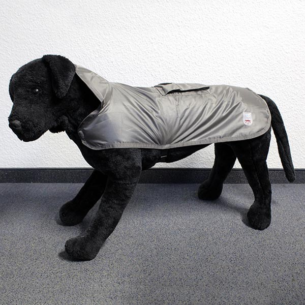 Hundemantel Eisbär | Regenmantel | Rain Coat Pocket Dunkelgrau Rückenlänge ca. 40cm