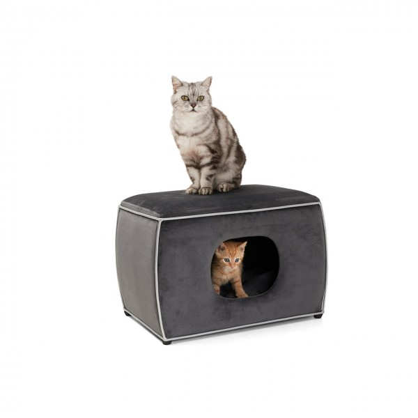 Katzenhöhle Nelson | Grau | Katzenbett, Kuschelhöhle für Katzen