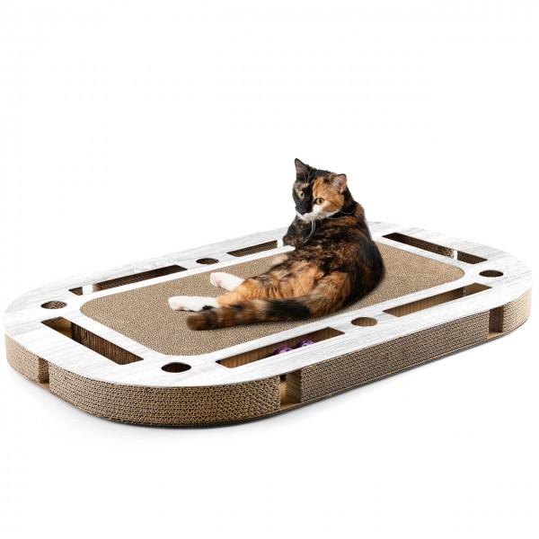 Katzenspielplatz PlayPlate hellgrau - mit integrierter Kratzpappe Kratzbrett