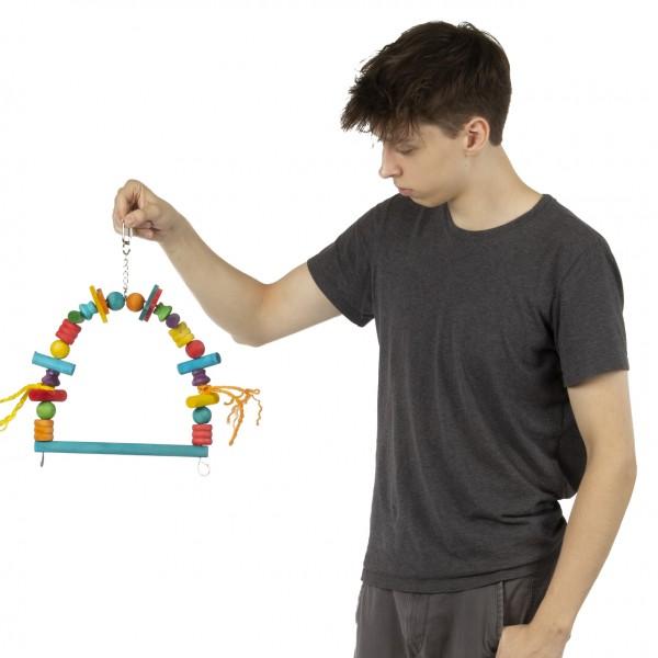 Vogelschaukel | Wooden Blocks Arch Swing - M | Schaukel für Sittiche und Papageien | bunte Holzschaukel ca. 29 x 36 cm