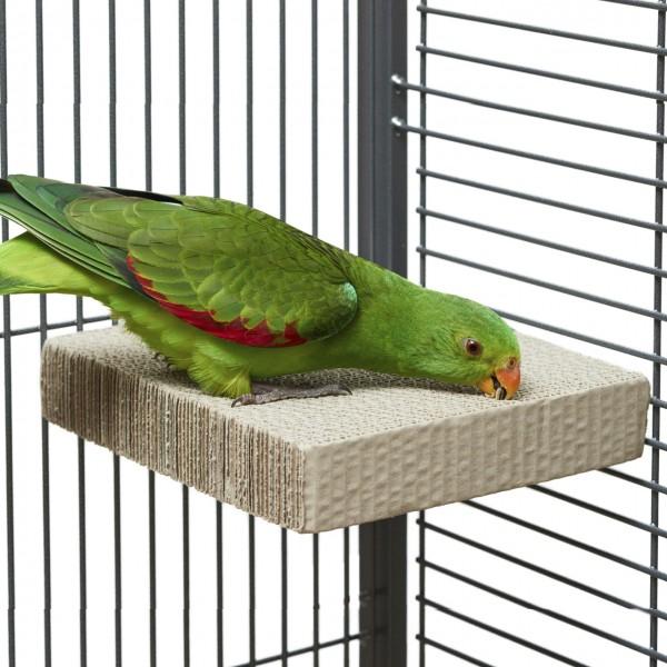 Eck - Sitzbrett für alle Papageien & Sittiche zum schreddern aus Wellpappe LARGE | ca. 20 x 20 x 4cm