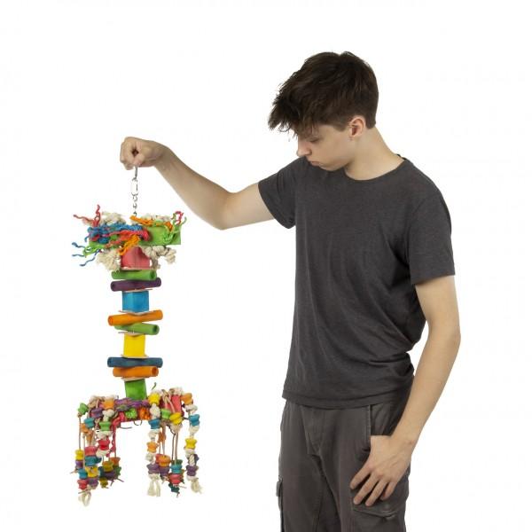 XXL Papageienspielzeug | Giant Squid | gigantisches Papageien Spielzeug für Aras, Kakadus & Graupapageien | Riesenkrake aus Holz ca. 22 x 22 x73 cm