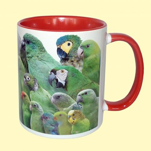 Tasse Papageien rot + grün
