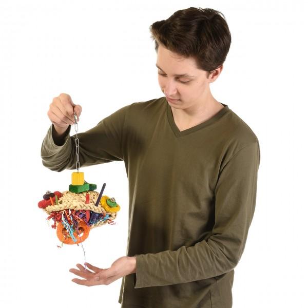 Papageienspielzeug HAPPY FROG - Spielzeug für Papageien mit Schrauben & Ketten aus Edelstahl