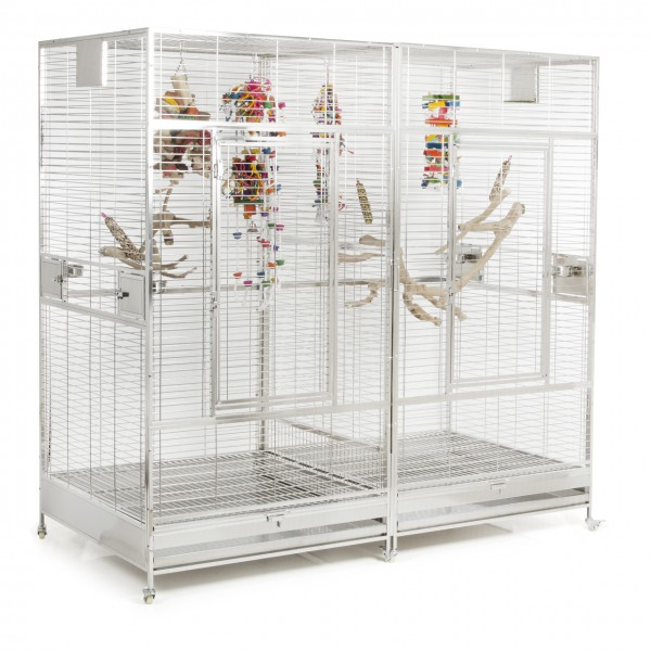 Edelstahlkäfig | Arkansas II Papageienkäfig aus Edelstahl mit Trennwand mit waagerechter Verdrahtung