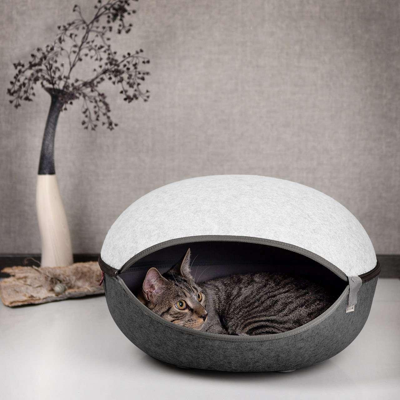 20+ Katzenhöhle, Katzenest in Eierschalenweiss   das Katzenbett mit Stil Bilder