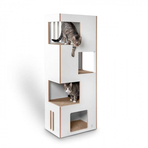 Cat Castle L 2.0 - das neue Kratzmöbel - natur-weiß mit beigem Filz - der andere Kratzbaum!