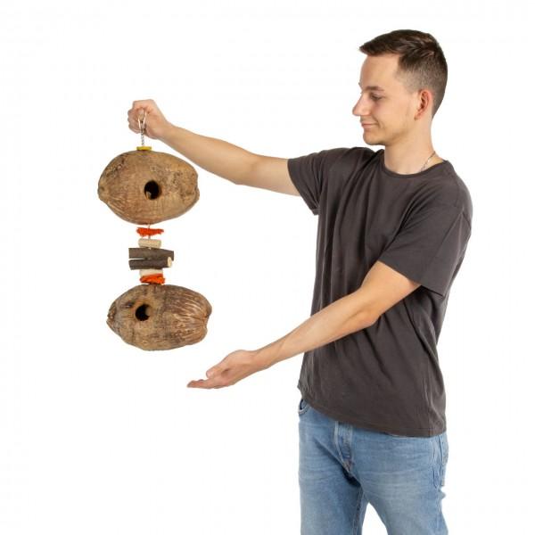 Kokusnuss-Holz Vogelspielzeug | Coco Natural Double Fun | 55 x 25 x 14 cm | Shredder-Spielzeug für Papageien