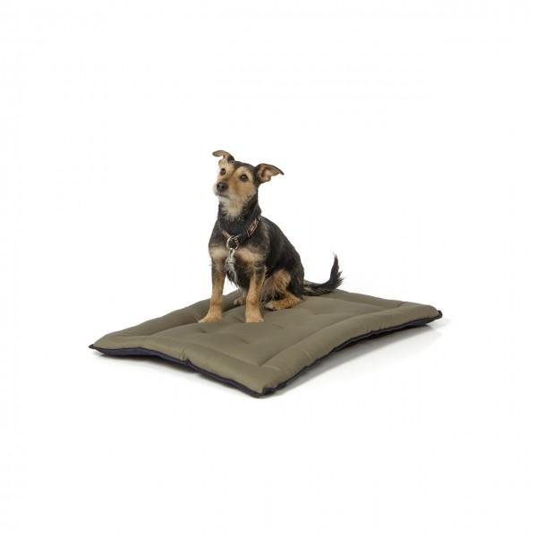gepolsterte Liegedecke 75 x 55 cm, dunkelblau/oliv bei 95°C waschbar für Hunde