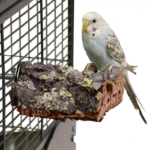 Kork-Sitzbrett XS für Wellensittiche und kl. Papageien ca. 10 x 8 cm