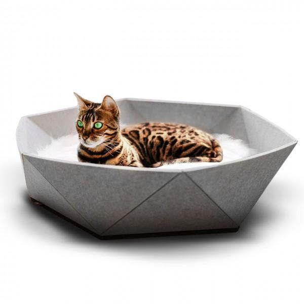 Katzenkorb Zoey aus Filz - hellgrau