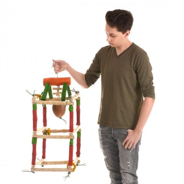 Papageienspielzeug GYM-Tower - als Hängefreisitz für Papageienaus hartem Kaffeeholz