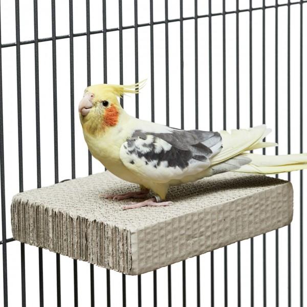 Sitzbrett für Papageien & Sittiche zum schreddern aus Wellpappe MEDIUM | ca. 20 x 15 x 4cm