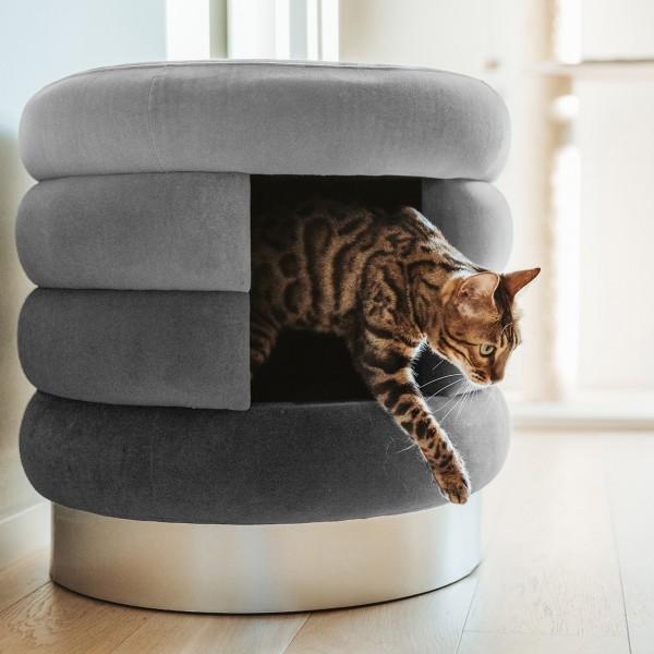 Katzenhöhle Choupette | Grau | Katzenbett, Kuschelhöhle, Hocker