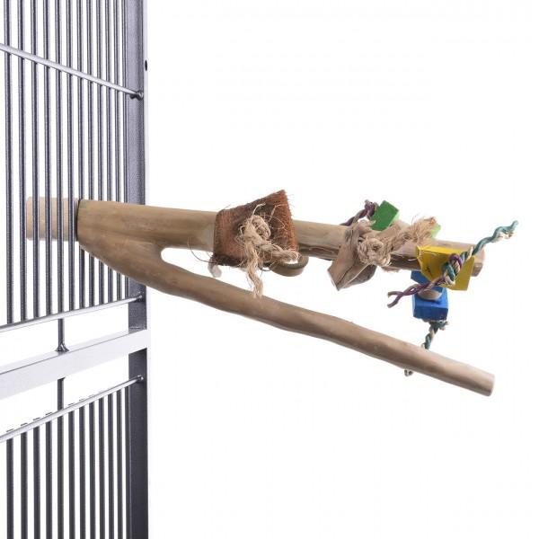 Java Sitzstange für Großsittiche und Papageien mit Spielzeug aus Kaffeeholz