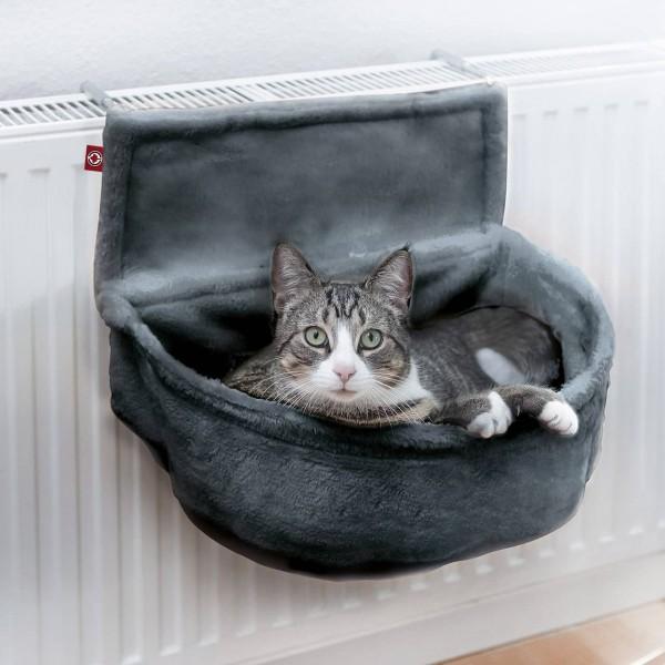 Katzen Kuschelsack für Heizkörper | Anthrazit