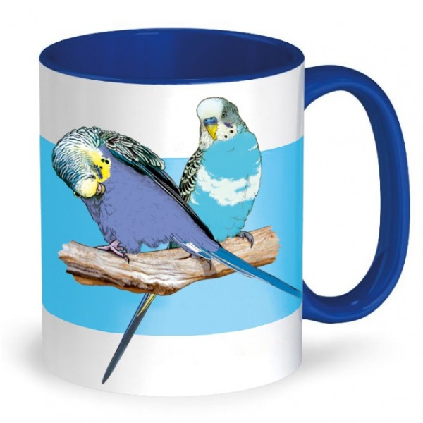 Tasse: Wellensittiche Blau