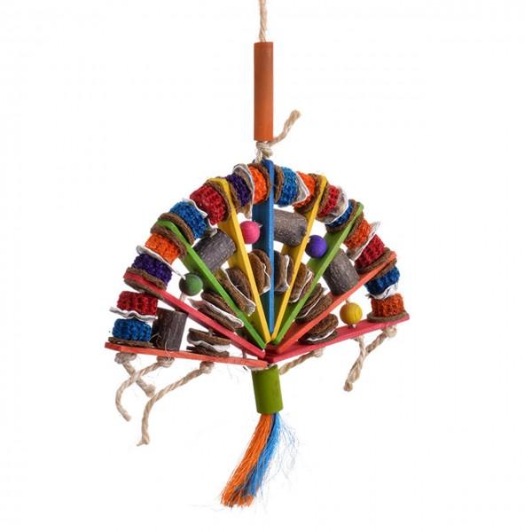 Vogelspielzeug   Bamboo Fan Toy XL   Papageienpielzeug aus 5 verschiedenen Materialien zum shreddern