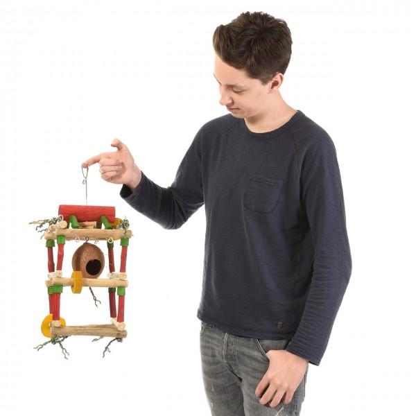 Vogelspielzeug Java-Tower - als Hängefreisitz für Nymphensittiche & Mohrenkopfpapageien