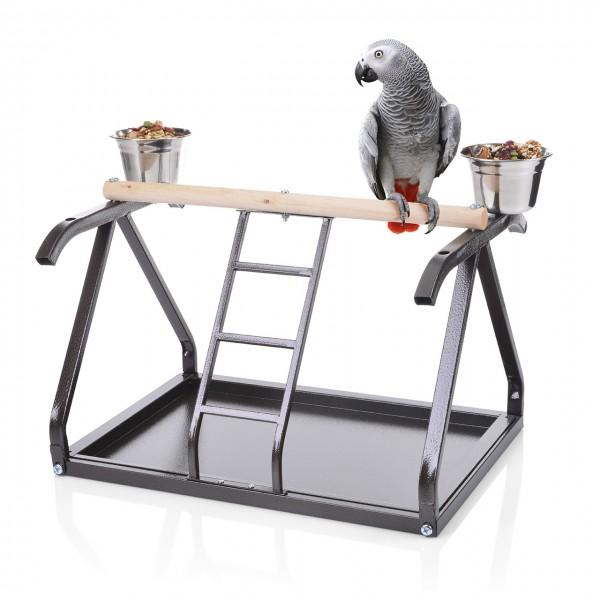 Tischfreisitz für Papageien - in der Wohntrendfarbe Choco
