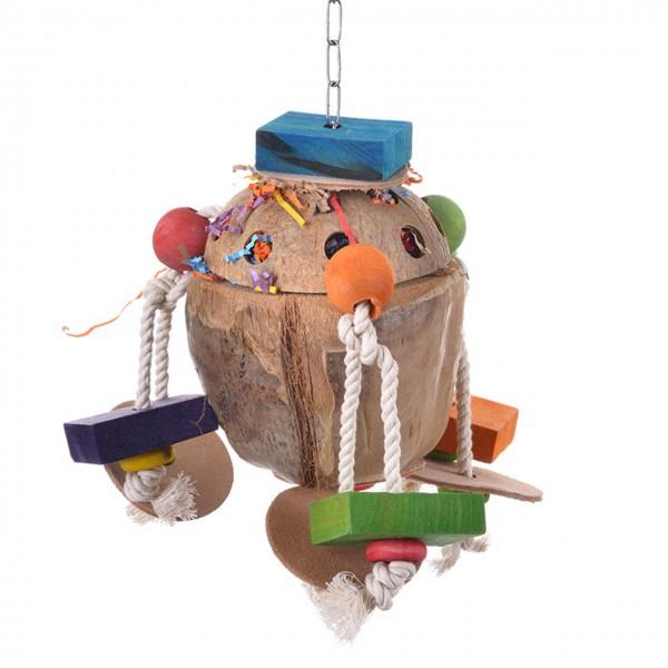 Coconut Treatholder Fun II - das natürliche Foraging Spielzeug für Papageien