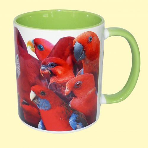 Tasse Papageien grün + rot
