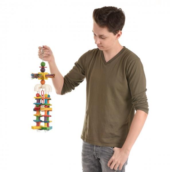 """Papageienspielzeug """"Happy Holzkrake"""", das Vogelspielzeug für alle Papageien, u.a. Graupapageien, Mohrenkopfpapageien, etc. auch für Kakadus"""