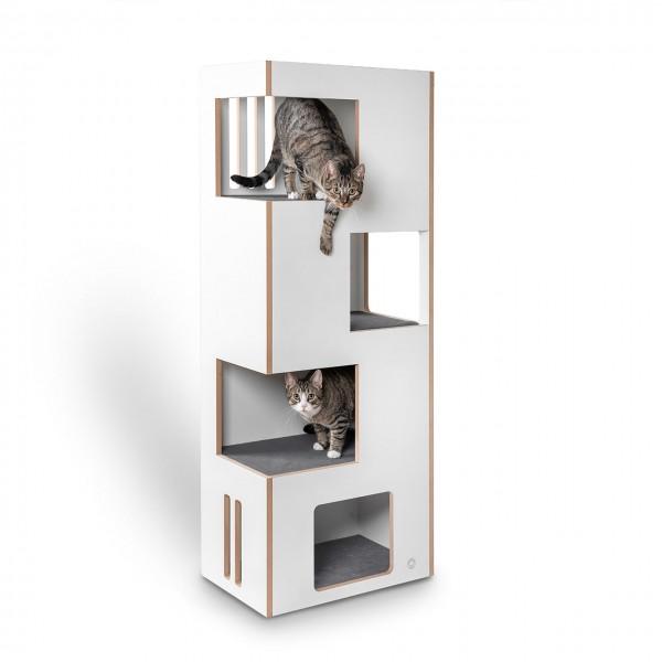 Cat Castle L 2.0 - das neue Kratzmöbel - natur-weiß mit grauem Filz - der andere Kratzbaum !