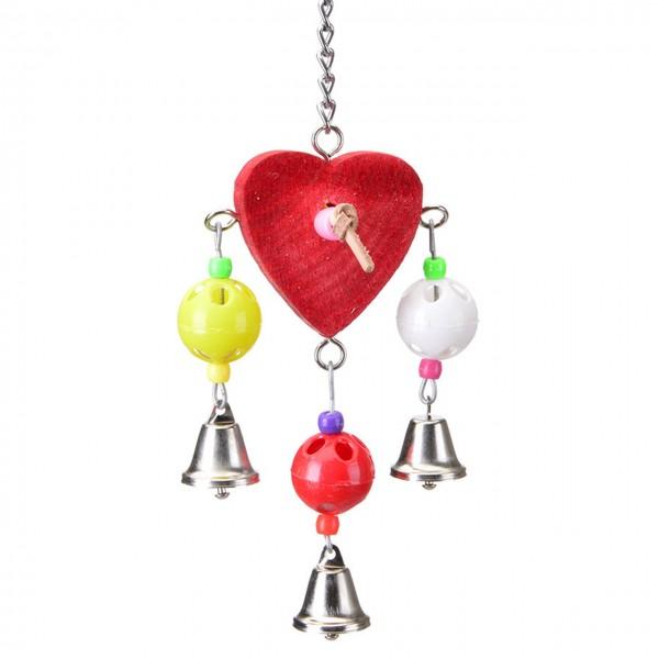 Vogelspielzeug Herz aus Holz mit Glöckchen