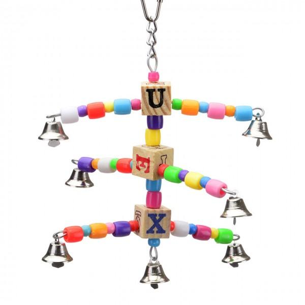 Wellensittichspielzeug Happy Six - das Spielzeug für den Wellensittich und Großsittich mit sechs Glöckchen