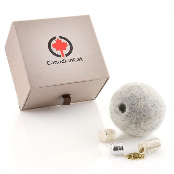Wollball mit verschließbarem Duftfach für Katzen mit Katzenminze