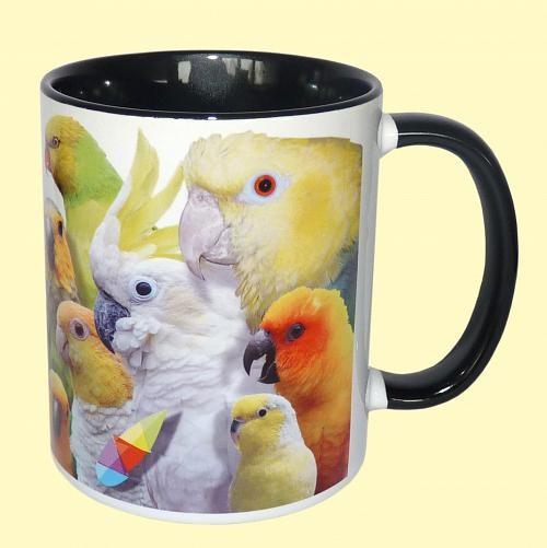 Tasse Papageien schwarz mit Artenvielfalt