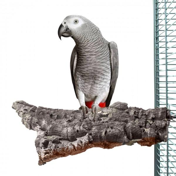 Kork-Sitzbrett XL Papageien ca. 25 x 15 cm mit Metallteilen aus Edelstahl