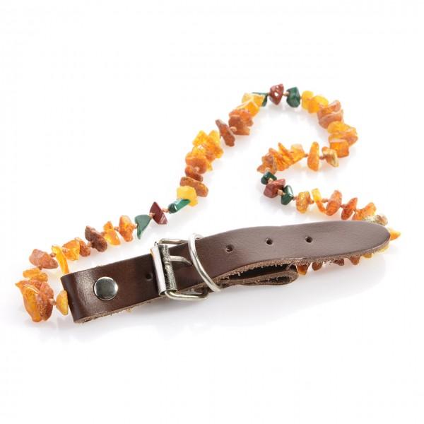 Bernsteinkette mit Malachit und Red-Jasper 30-40 cm für Hunde & Katzen