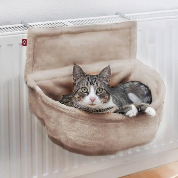 Katzen Kuschelsack für Heizkörper | Beige