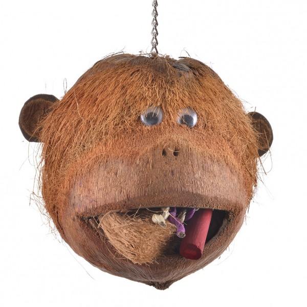 Coco Monkey - Kokosnuss Affenkopf zum Knabbern für alle Großsittiche und Papageien