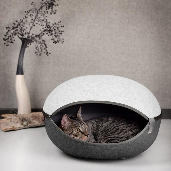 Katzenhöhle, Katzenest in Eierschalenweiss - das Katzenbett mit Stil