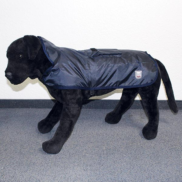 Hundemantel Eisbär | Regenmantel | Rain Coat Pocket Dunkelblau Rückenlänge ca. 75cm