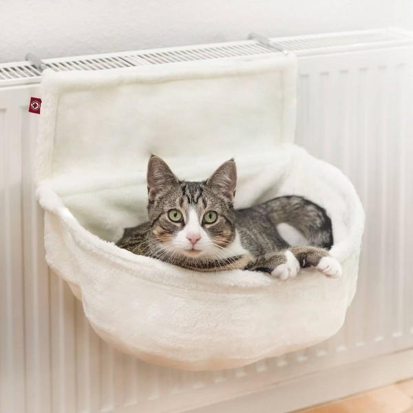 Der Katzen Kuschelsack für Heizkörper | Weiß