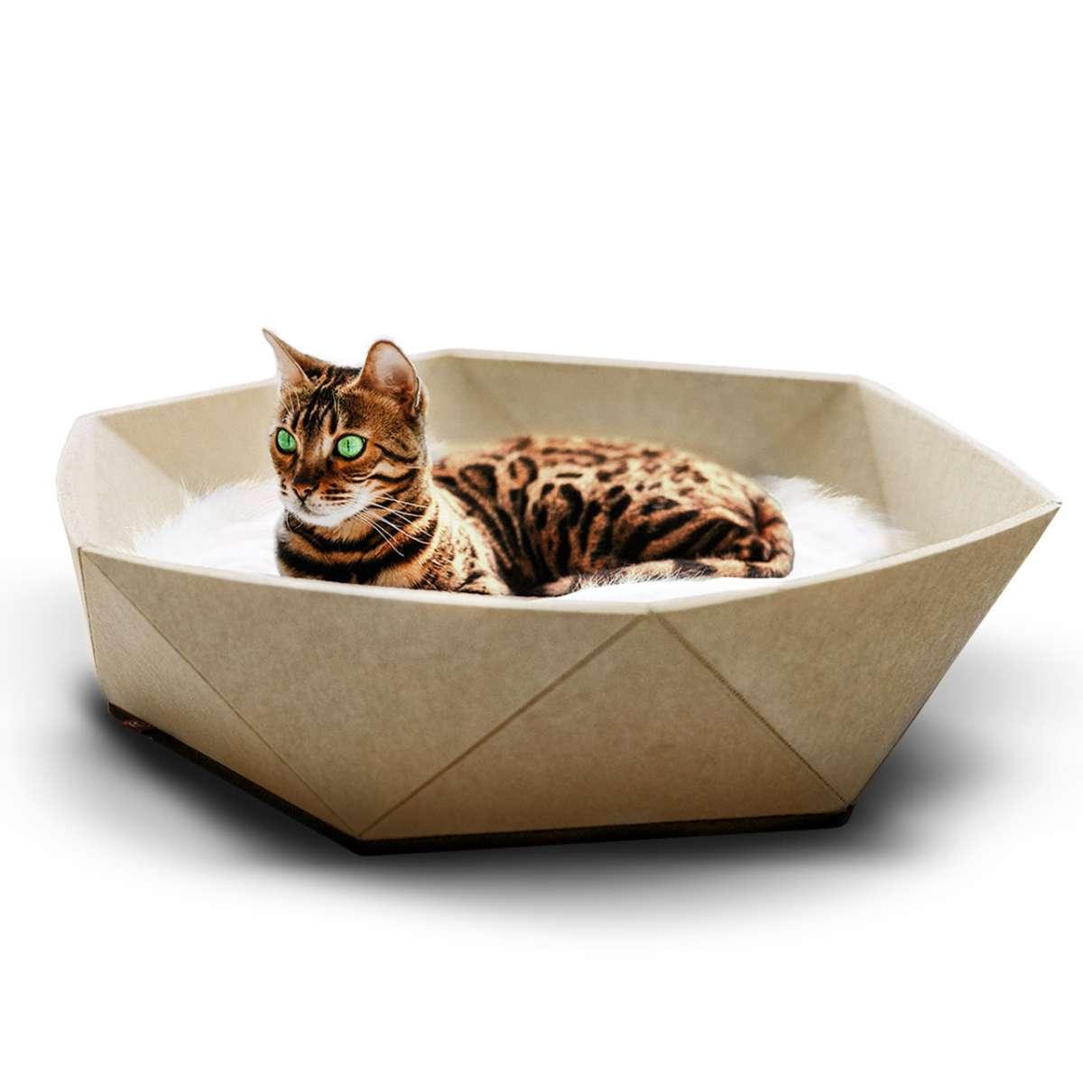 Katzenkorb Zoey aus Filz   beige   Designbett für Katzen