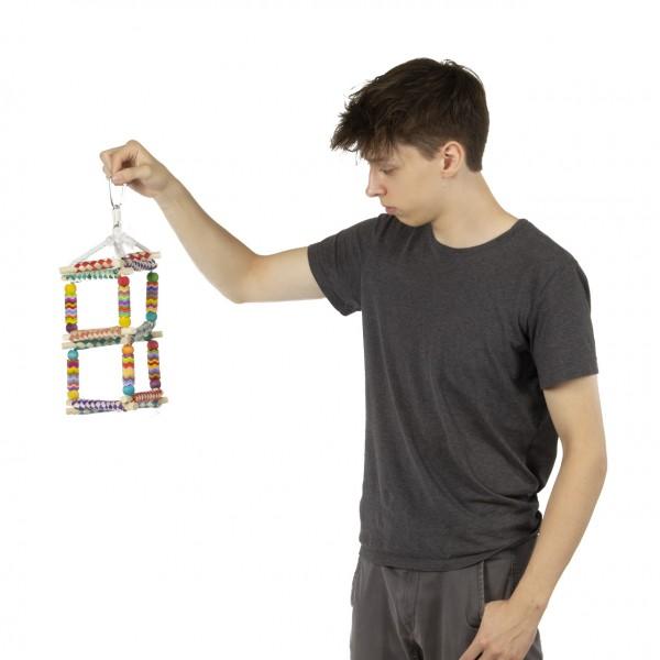Vogelspielzeug   Fiesta Pagoda   bunte Schaukel und Schredderspielzeug ca. 18 x 18 x 34 cm