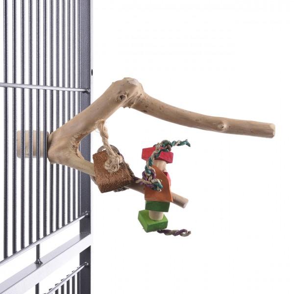 Kletter- und  Sitzstange für Großsittiche und kleine Papageien mit Spielzeug