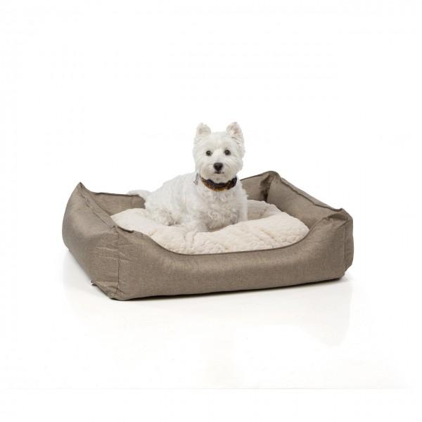 Hundebett MANCHESTER | 85 x 70 cm | braun meliert