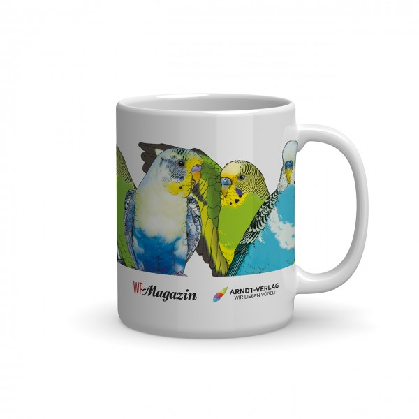 Tasse: Wellensittichschwarm