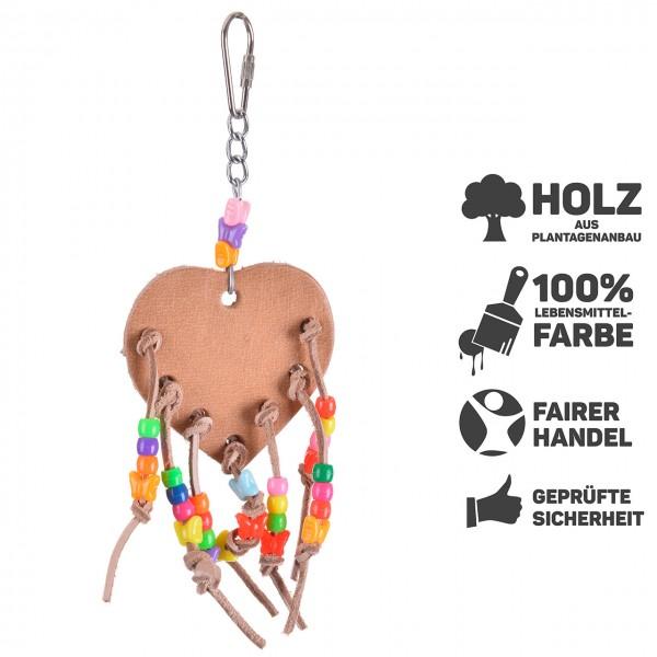 Vogelspielzeug Lederherz - das Lederspielzeug für den Wellensittich & Co